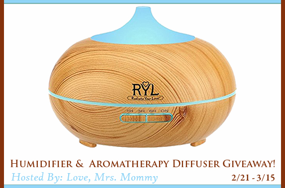 ***CLOSED***  Enter to Win: Humidifier & Aromatherapy Diffuser Giveaway
