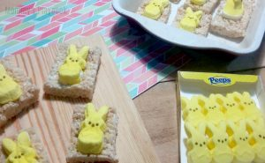 These Rice Krispie Easter Peeps Pops from Mommy's Playbook are perfect for Easter baskets or a fun Easter snack.