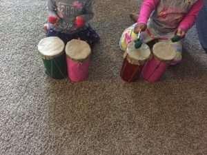 Kids playing on DIY Drum Set