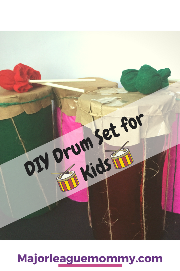 I came up with this fun craft idea at the last minute for the little ones. As it turns out, they really enjoyed these DIY Drum sets using old oatmeal containers