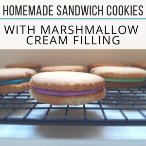 Looking for the perfect Easter dessert recipe? Check out these delicious Homemade Sandwich cookies with Marshmallow Cream Filling from MomEh!