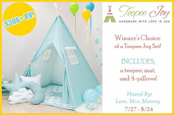 Enter to win your choice of TeePee! Ends 8/24