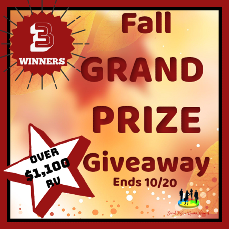 Fall is officially in session, and what better way to celebrate than with a big ol' giveaway?? Here is your chance to win BIG. Enter to win in the Fall Grand Prize Giveawaybefore it's too late. Enter away, and good luck!