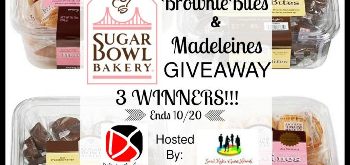 Mmmm.... here's a sweet giveaway you do not want to miss. Enter to win in the Sugar Bowl Bakery Brownie Bites & Madeleines Giveaway. Good luck.