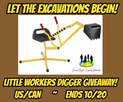 This is a really great opportunity to snag an early holiday gift for your little one. Enter to win in the  Little Workers Digger Giveaway. Good luck!
