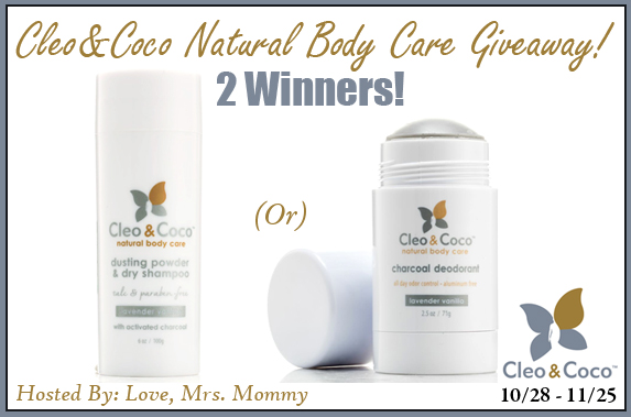 *CLOSED* Cleo&Coco All Natural Body Care Giveaway- Ends 11/25