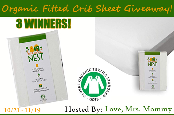 *CLOSED* Organic Fitted Crib Sheet Giveaway- Ends 11/19
