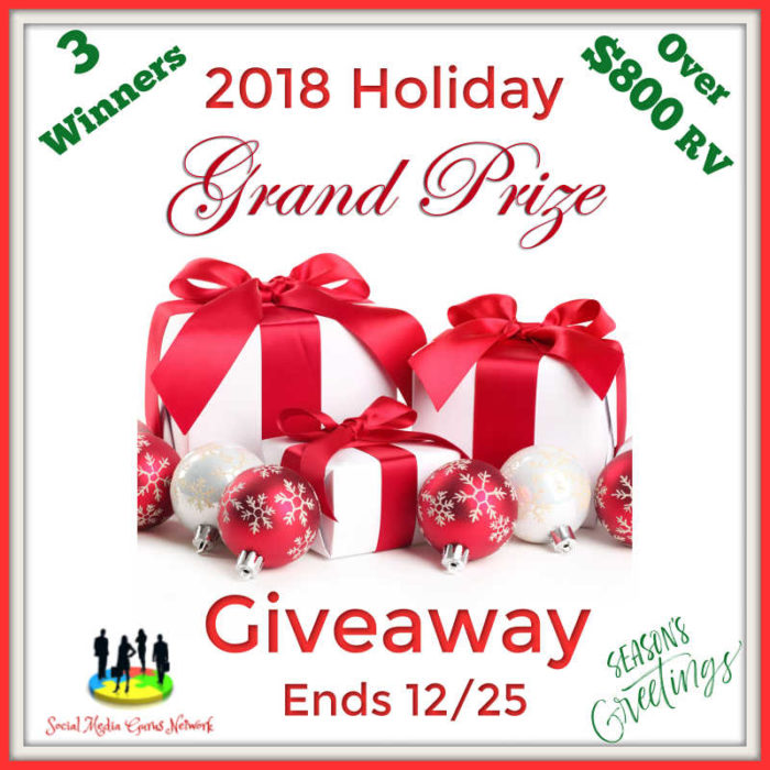 2018 Holiday Grand Prize Giveaway-Ends 12/25