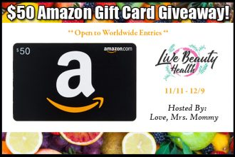 Who wouldn't want some extra shopping money around the holidays?? I know for sure I could use it. If you would like some help with your holiday shopping, this giveaway is definitely for you. Enter to win in the$50 Amazon Gift Card Giveaway before it's too late. Good luck!