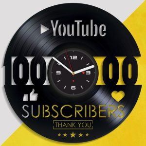 YouTube Vinyl Wall Clock on Etsy