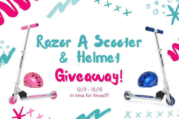 Here is a really fun giveaway for you all just in time for Christmas! Woo! Enter to win in the Razor 'A' Scooter and Helmet Giveaway before it's too late. Good luck!