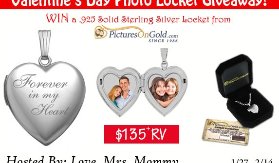 Here is a Valentine's Day Giveaway you will definitely not want to miss. Enter to win in theSterling Silver Photo Locket from PicturesOnGold.com Giveaway before it's too late. Good luck!