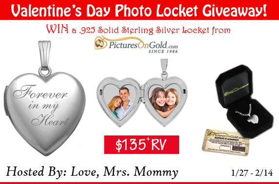 Here is a Valentine's Day Giveaway you will definitely not want to miss. Enter to win in the Sterling Silver Photo Locket from PicturesOnGold.com Giveaway before it's too late. Good luck!