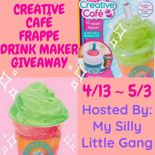 I am back with another fun giveaway for you all. I think the kiddos will really like this one. Enter to win in the Creative Cafe Frappe Drink Maker Giveaway before it's too late. Good luck!