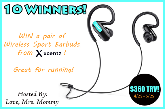 This giveaway is great for all my active Mommas out there. Enter to win in the Xcents Wireless Earbud Giveaway before it's too late. Good luck!