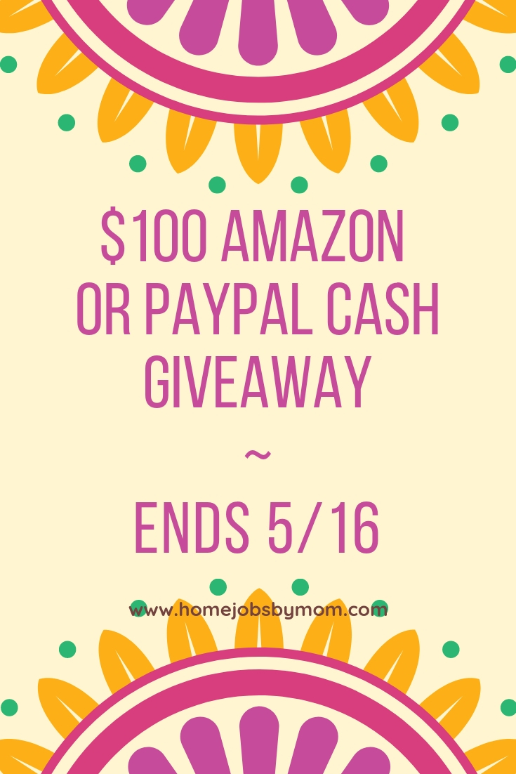 Spring is in the air, and a little extra funds certainly would help us to get prepared. Enter to win in the $100 Amazon/PayPal Giveaway before it's too late. Good luck!