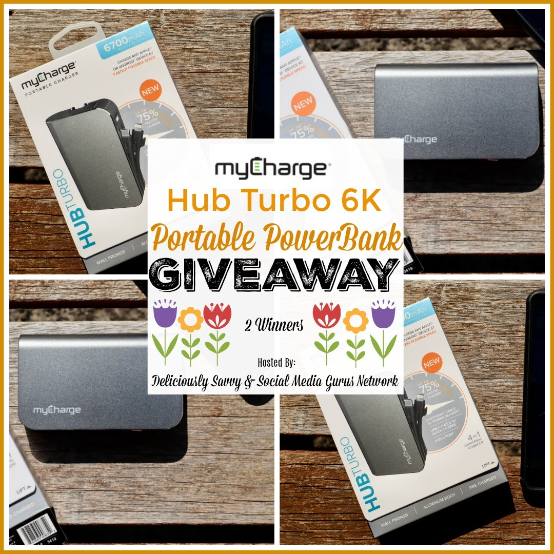 myCharge Hub Turbo 6K Portable PowerBank Giveaway- Ends 4/5